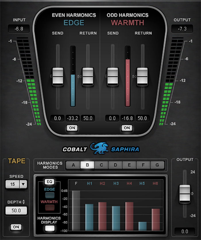 Waves Cobalt Saphira Harmonic Enhancer Audio Plugin Control Image